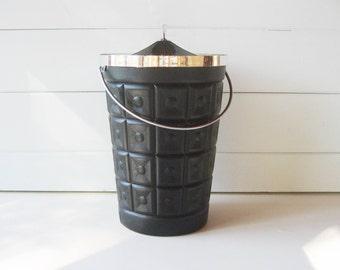 Black and Silver Ice Bucket, Retro Bar, Large Ice Bucket, Mod Ice Bucket
