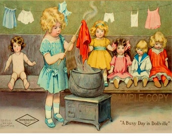 Bessie Pease Gutmann print  Busy Day in Dollville laundry girl    and dolls
