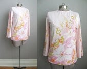 1960s Vintage Top Pink 60s Tunic Flower Print Long Sleeve / Large