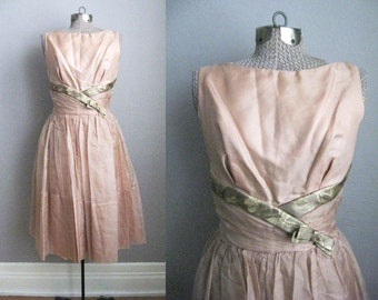 1950s Party Dress Organza Taffeta 50s Prom Gold Brocade Young Modes / Small