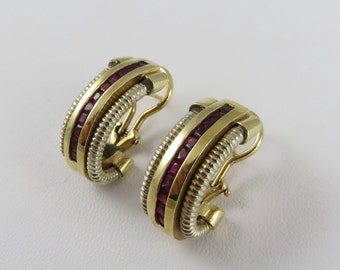 Vintage Estate Gold and Ruby Earrings