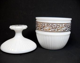 Vintage Milk Glass Lidded Dish Gold Leaf Vine Design, Milk Glass Vintage, Lidded Milk Glass, White Glass Compote,