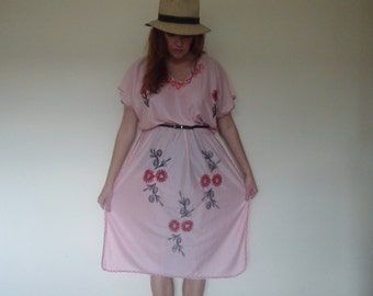 Handmade Pretty pink sun dress with embroidered flowers
