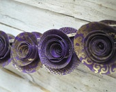 Purple and gold Garland, Purple Paper flower garland- 3.5 feet