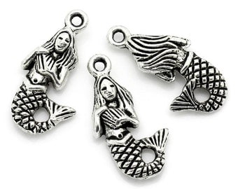 10 Pieces Antique Silver Mermaid Charms