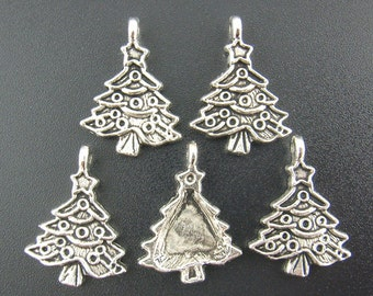 5 Pieces Silver Christmas Tree Charms