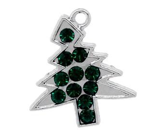 2 pieces Silver Tone Green Rhinestone Christmas Tree Charms