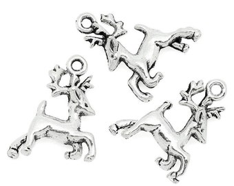 10 pieces Antique Silver Christmas Reindeer Charms