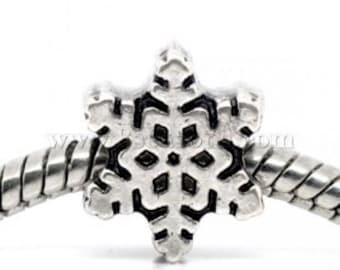 2 Pieces Antique Silver Snowflake European Charms