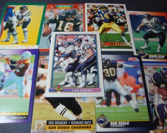 SALE -Vintage Team Lot of San Diego Chargers Greats Football Cards -Hall of Fame / Star / Rookie Card Lot - Fouts, O'Neal, Seau, Harmon, etc