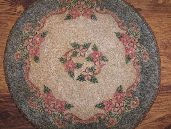 Punch Needle Hooked Mat, Doily, or Chair Pad - Embroidery Floss - 14""