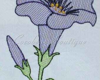 mylar Petunia applique embroidery