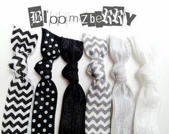 New 6 pcs Elastic Hair Tie - Black and White Set - Chevon, Polka Dots, Black, Gray and White - Toddler to Adult