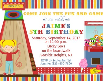 Arcade Invitation - Personalized Custom Arcade Carnival Boardwalk Birthday Invitation - Print Your Own