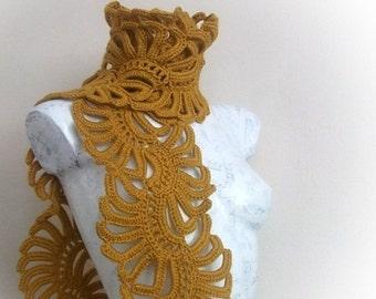 Mustard Yellow Lady Scarf-Crochet Scarf -Crochet shell scarf-Crochet lace scarf