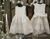 Beach flower girl dress. Off white Rustic flower girl dress. First communion dress. Country barn wedding. Elegant simple linen flower girl