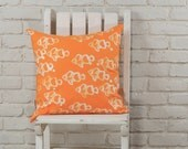 """Beach decor: Hand stamped hand dyed clown fish pillow cover 20""""x20"""" MADE TO ORDER"""