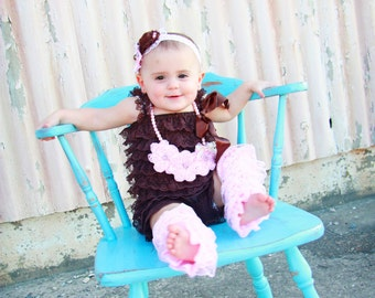 4 pcs Brown Lace Petti Romper, Headband,petti rompers, baby girls petti Rompers, Photography props, Baby petti Rompers,Ready to Ship