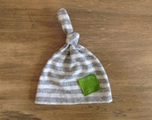 Gray Green Baby Boy Hospital Hat. Single Knot Upcycled Boy Hat