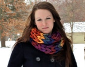 SALE-Multicolor Chunky Knit Infinity Scarf - Purple/Gold/Blue/Red - Perfect Accessory