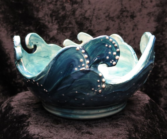 Items Similar To Ocean Waves Yarn Bowl On Etsy