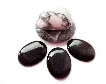 5 Black Cats Eye Cabochon, 18 x 25 mm Cat's Eye Oval Glass Cabochons, jewelry making, supplies