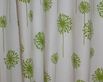 "CUSTOM DRAPERIES - A pair of Custom Curtains Dandelion White Chartreuse  50"" wide X up to 108"" Long"