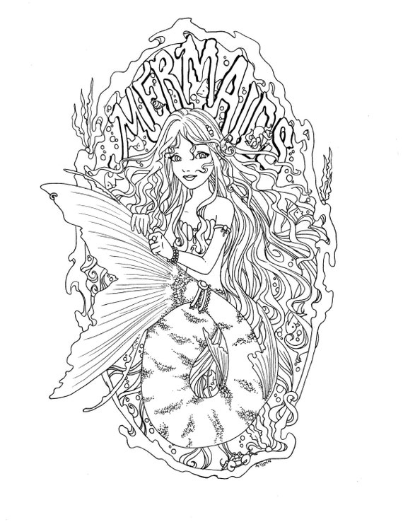 Realistic Mermaid Coloring Pages For Adults Coloring Pages
