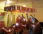 """18"""" X 6"""" Hanging Solid Copper Pot Rack with 8 hooks and 64 inches of copper chain FREE Shipping to U S Zip codes"""