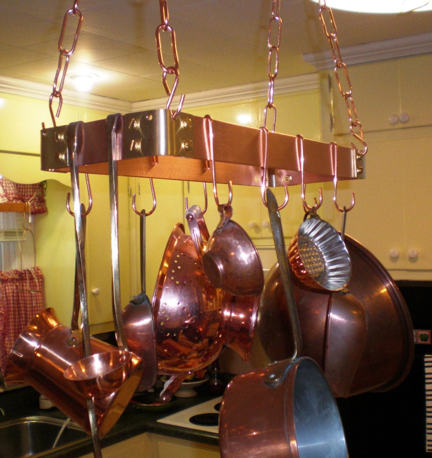 18 X 6 Hanging Solid Copper Pot Rack With 8 Hooks