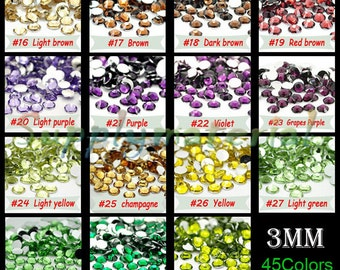 3MM Bling Crystal Rhinestone Flatback resin Jewelry accessories material supplies (3000pcs/bag)--B