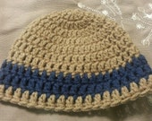 READY TO SHIP Newborn Crochet Tan Hat with Navy Blue Stripe