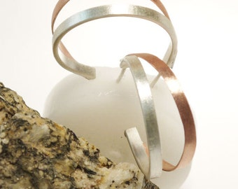 A unique small hoop earrings - Silver hoop and copper hoop -a beautiful combination of sterling silver and copper.