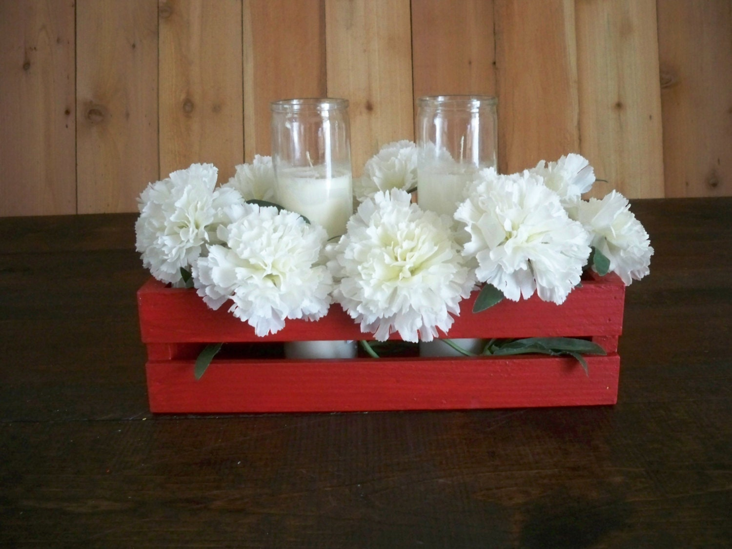 Wood crate centerpiece wedding center piece