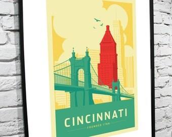 "Cincinnati, Ohio Skyline 11""x17"" Poster"