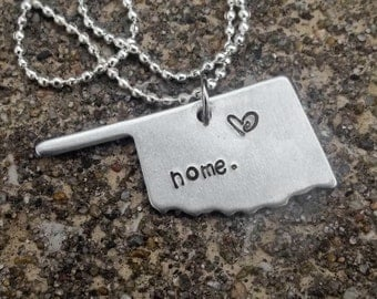 HOME Stamped Metal State Shaped Necklace with optional heart stamp over favorite city