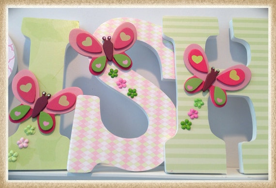 Butterfly Theme Girl's Nursery Or Bedroom Wall Letters. By