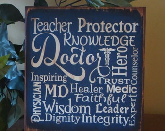 Doctor Physician Typography Wooden Primitive Sign