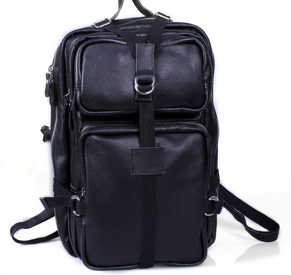 Super Large Genuine Leather Backpack / Travelling Bag / Camping Bag / Messenger Bag / Crossbody in Classic Black