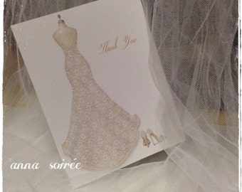 Lace Wedding Dress and Shoes THANK YOU Cards - Personalized with Name, Thank you or just the design! Bridal Shower, Wedding, Engagement