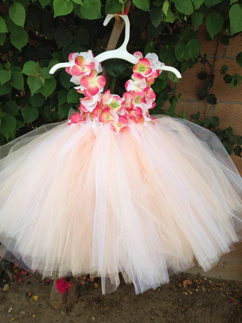 Flower Girl Dress Tutu Dress Coral tutu dress Hydrangea