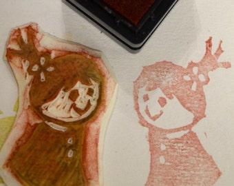 Cutie Girl -Handmade unmounted Rubber stamp