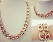 Rose Gold Statement Necklace 3in1 chunky necklace statement jewelry rose gold bracelet RICH GIRL