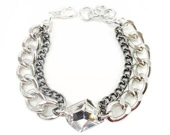 Crystal Statement Bracelet swarovski silver statement jewelry RAY OF LIGHT