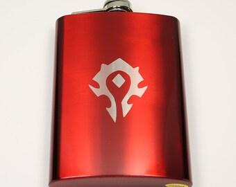 World of Warcraft 8 oz Red Horde Symbol Flask