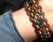 Rhinestone Bracelet, Copper Rolo Chain and Brown Leather Bracelet, Woven Leather Adjustable Bracelet