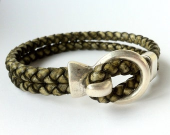 Leather bracelet, Hook clasp, mes bracelet, Braided leather bracelet, gift for him