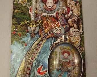 Queen of Swords Tarot Illuminati cabochon pendant