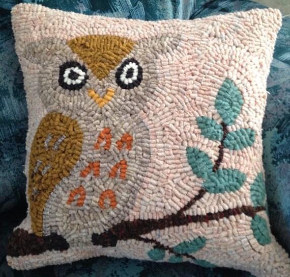Barn Owl Hooked Rug Pillow