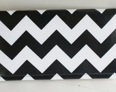 American Made Wallet Clutch Black Chevron Laminate Fabric